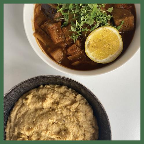 Zaatar spiced eggplant & zucchini stew with creamy chickpea & cannellini bean ma