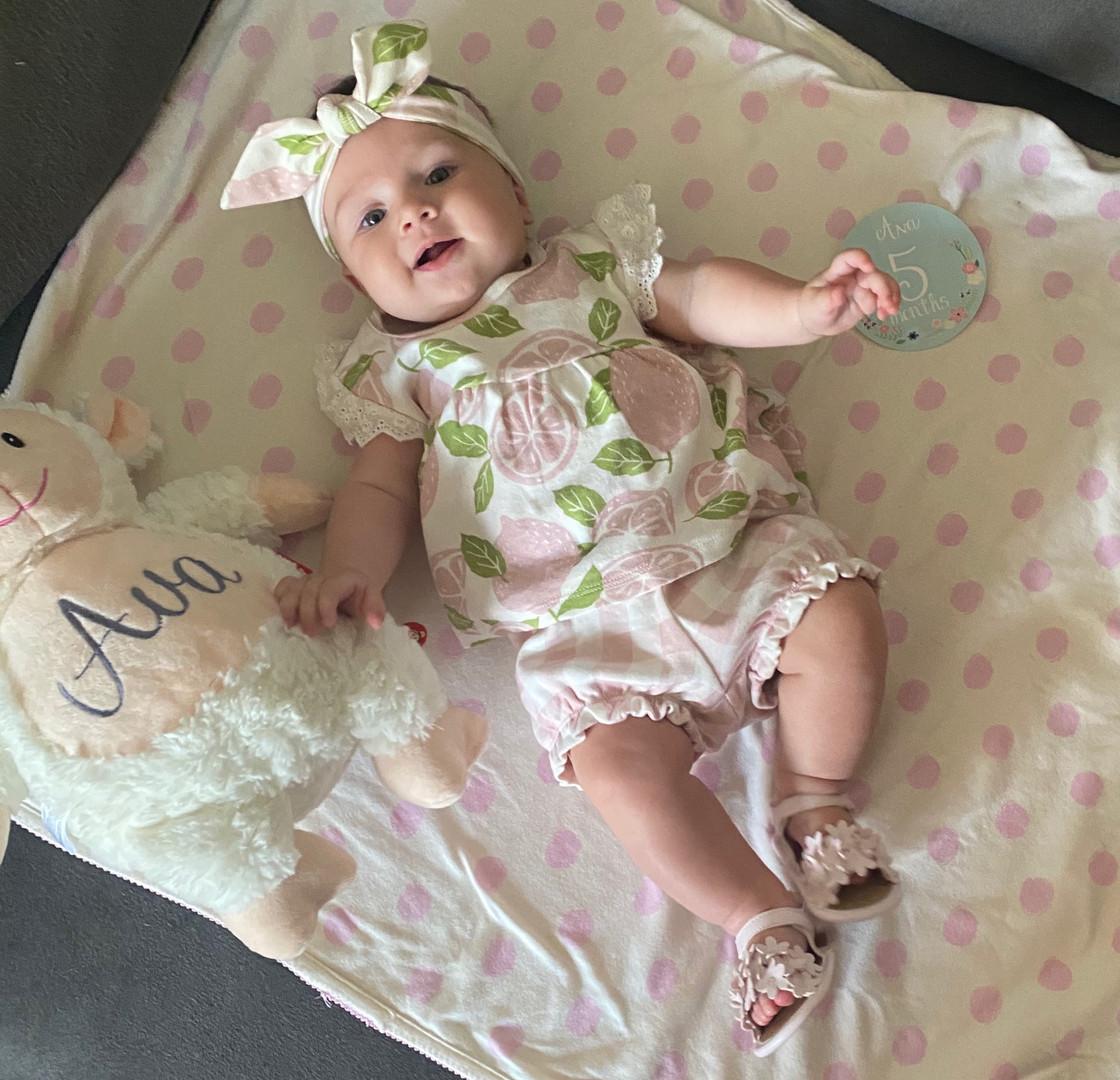 Sweet Baby Dear in Tesa Babe's Pink lemonade print. So huggable!