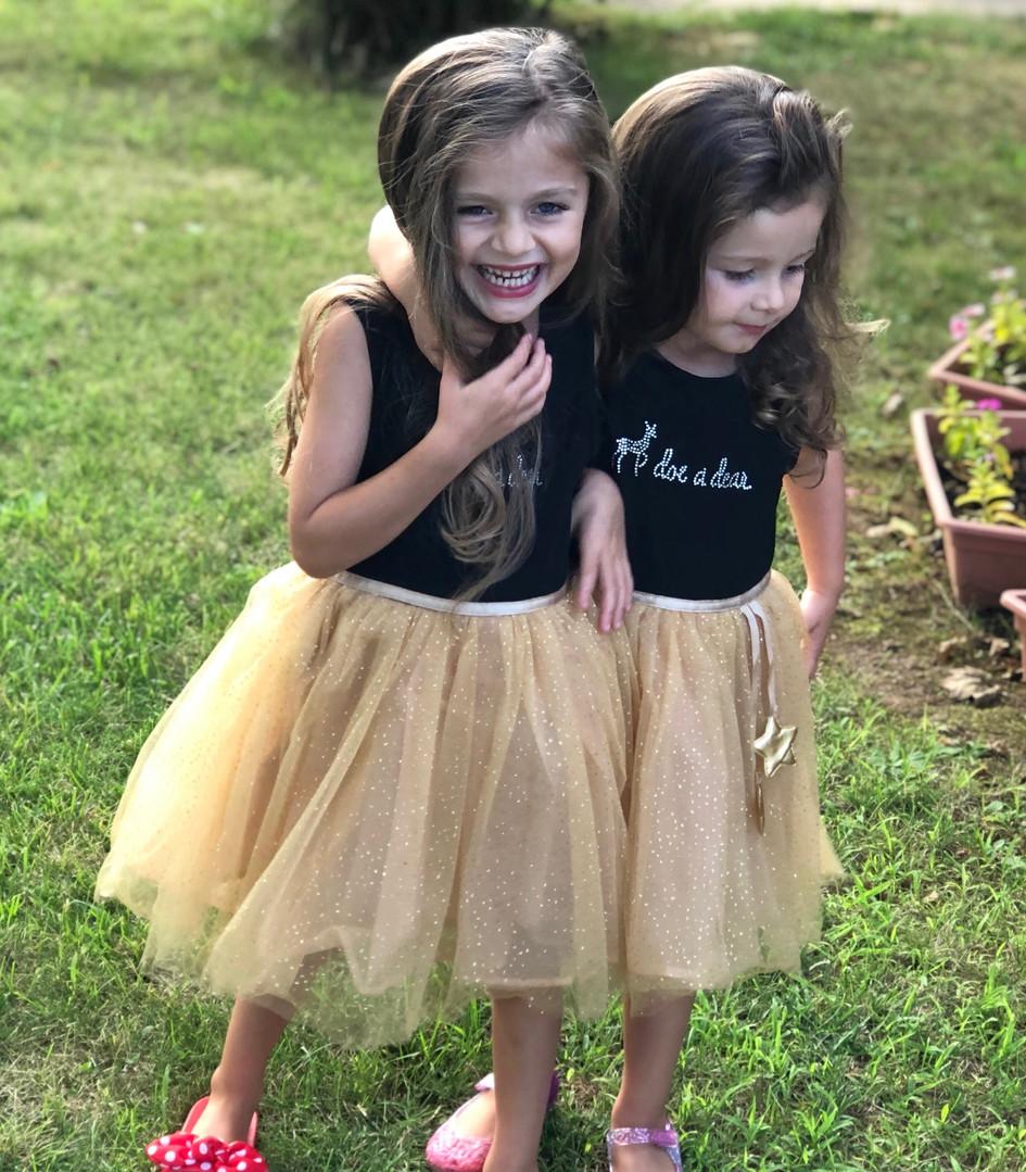 Girly Girls having so much fun dressed in doe a dear outfits. Beautiful dolls!