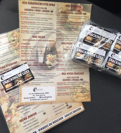 Menus de restaurant et cartes de visite