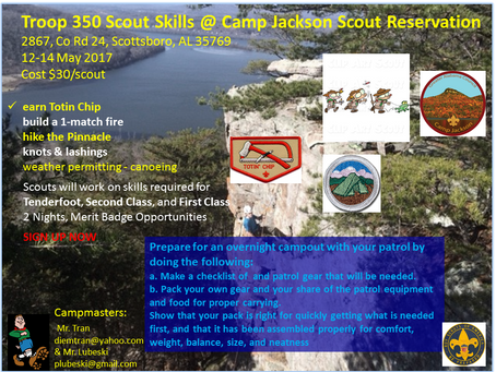 Troop 350 Scout Skills Campout 2017