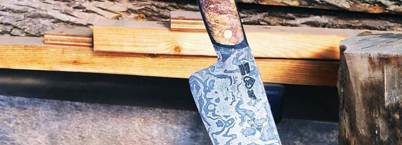 Chainsaw Damascus Blade with Buckeye Burl & Black G19 Handle