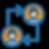 Icono con dos avatares de personas iguales conectados por dos flechas armando un cuadrado.