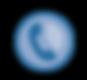 Icono de teléfono en un circulo azul.