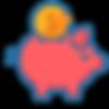 Icono con chancho guardando una moneda de ahorro.