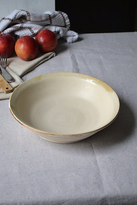 Low Stoneware Bowl with Antiqued Rim