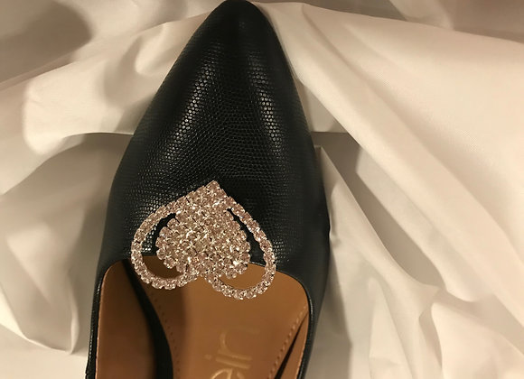 Rhinestone Shoe Clips - Heart