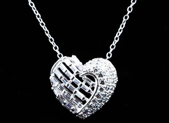 Necklace heart -silver zirconia