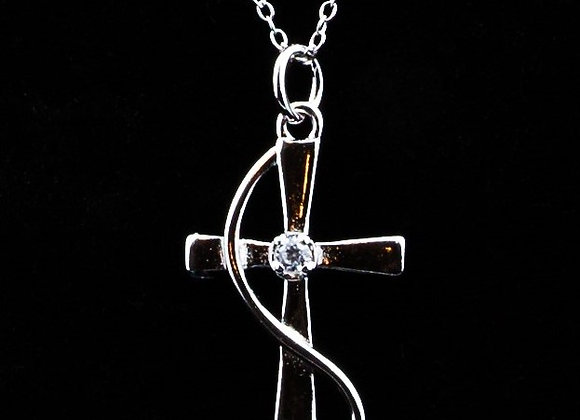 Necklace cross - Clear zirconia