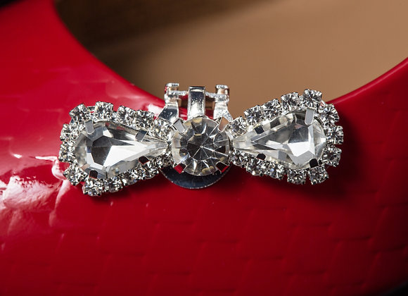 Rhinestone Shoe Clips - Rounded Bow