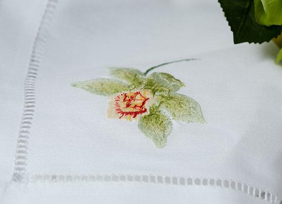 Green orchid hemp stitch cloth napkins - Set of 4