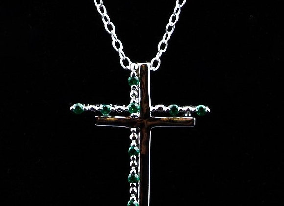 Necklace double cross green zirconia