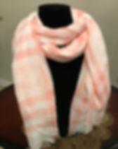 Checkered Orange and White Shawl