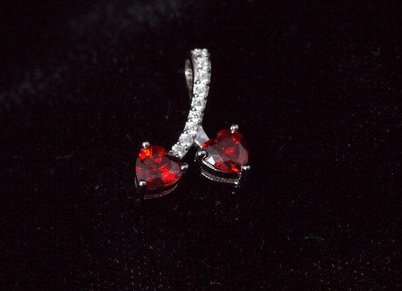 Sterling Silver Cherry Hearts Garnet CZ Pendant