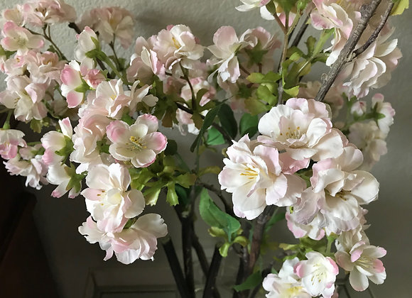 White/pink blossoms silk flower