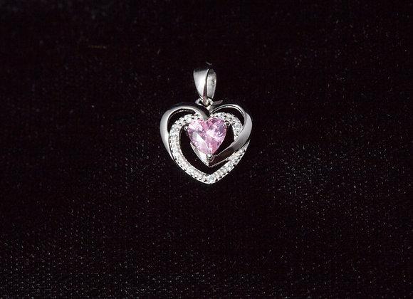 Sterling Silver Precious Heart Pink CZ Pendant