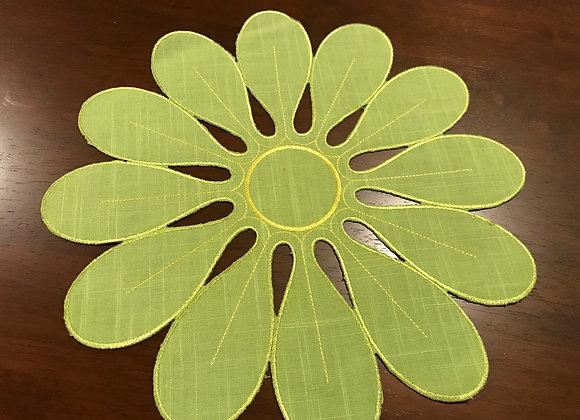 """12"""" Flower Design - Lime Green Doily"""