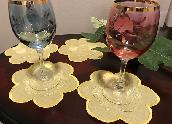 Flower design coaster( yellow)