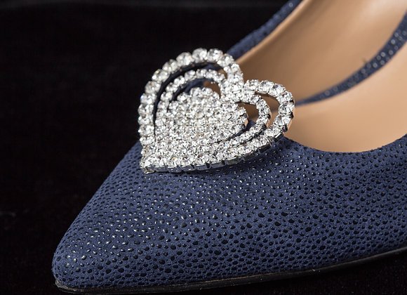 Rhinestone Shoe Clips - Triple Heart