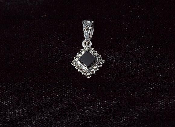 Sterling Silver Black Onyx Square Marcasite Pendant