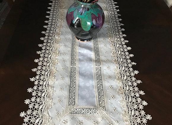 Elegant Embroidered Runner - ECRU