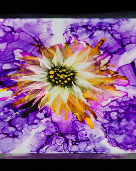 Yellow and Purple Flower Coaster