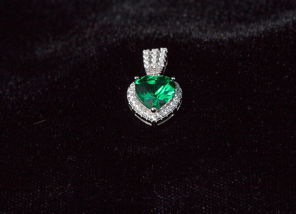 Sterling Silver Emerald Big Heart CZ Pendant