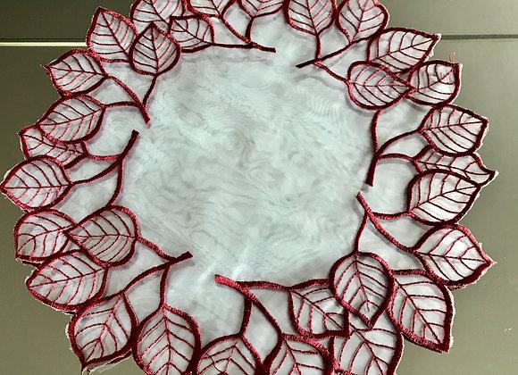 """11.5"""" Leaf Design - Sangria Doily"""