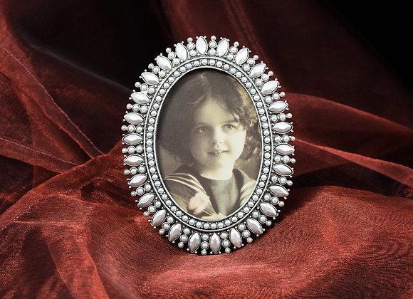 Jeweled Photo Frame - Silver