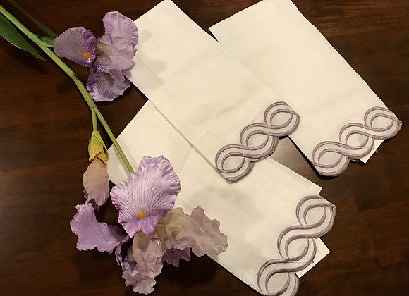 Set of 2 - Lilac embroidered guest or bar towels