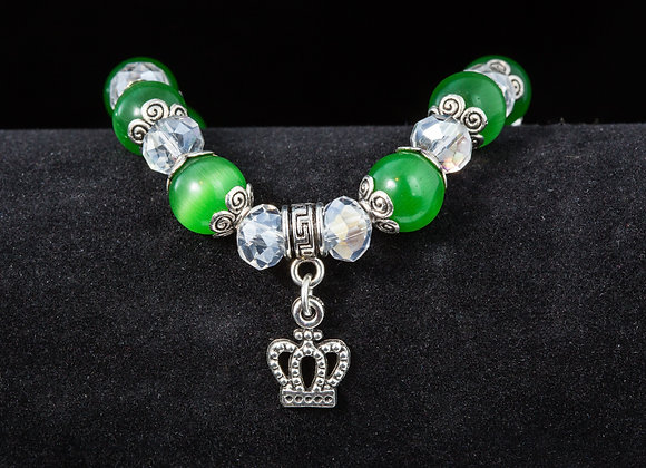 Fashion Bracelet- Green & Clear Beads with Crown Charm