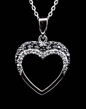 Necklace open heart - with clear/black zirconia