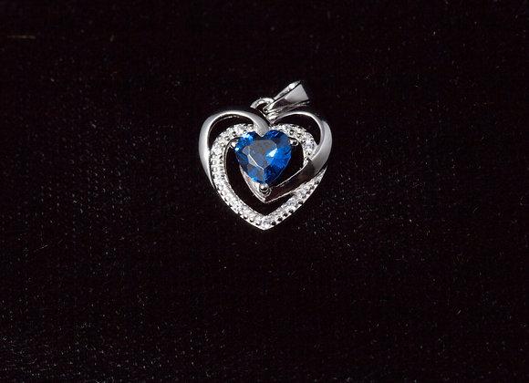 Sterling Silver Precious Heart Blue Sapphire CZ Pendant