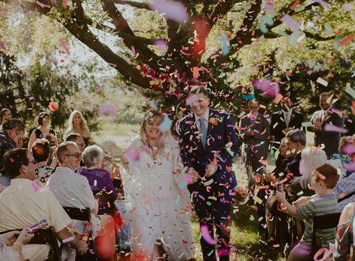 Mark and Sarah's Colorful Backyard Wedding