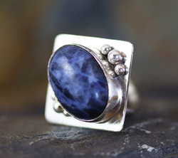 Silver and Sodalite Cocktail Ring