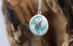 Heart Flowers Enamel Pendant