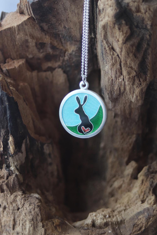 Vitreous enamel silver bunny pendant