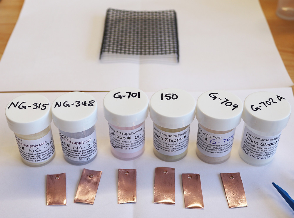Copper test strips waiting to have colour applied