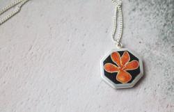 Orange Viola fine silver and enamel pendant