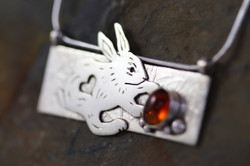 Silver and Citrine Easter Bunny Pendant