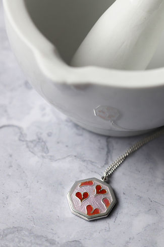 Lovehearts Silver and Enamel Necklace.jp