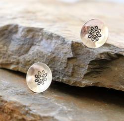 Stamped Silver Flower Studs