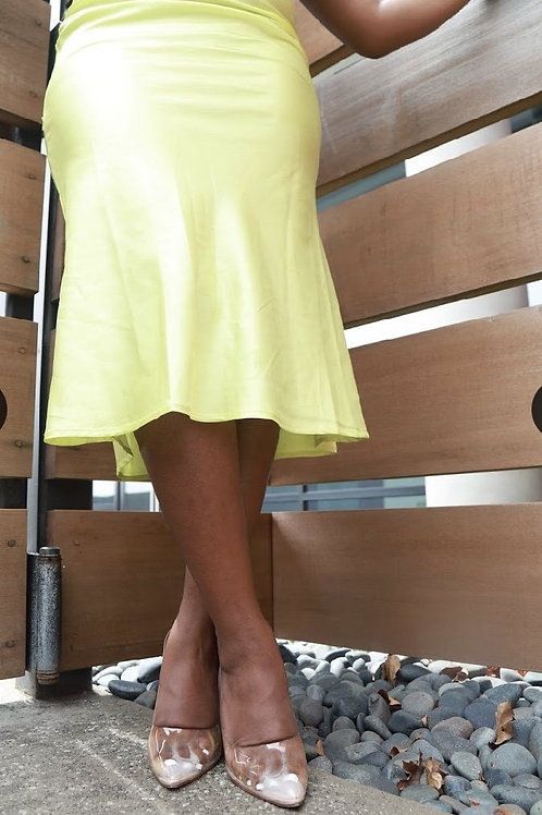 Lime Satin Skirt