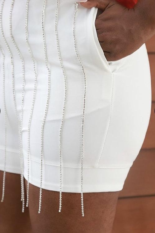 White Rhinestone Fringe Shorts