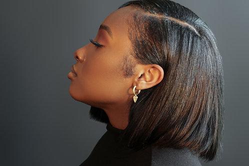 Silver Heart Cuff Earrings