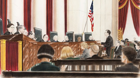 Painting of John B. Draper arguing Kansas v. Colorado before the U.S. Supreme Court