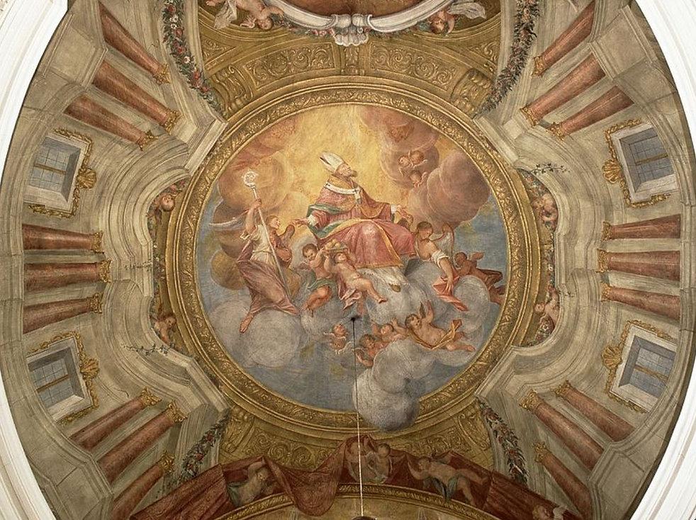 """Ein wunderschönes Foto in der Pfarrkirche St. Nikolaus in Herznach, Deckengemälde """" Glorie des Heiligen Nikolaus"""" von Francesco Antonio Giorgioli"""