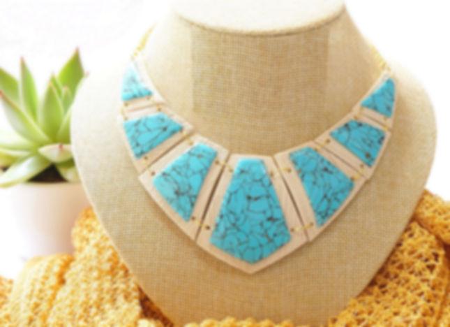 Fimo Collier plastron pierre de turquoise - Caprice élégant - Loisir créatif - Fimo cours privé – cours Fimo
