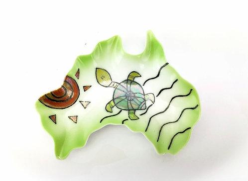 Australia Ceramic Dish - Turtle & Sun Design