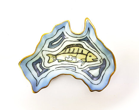 Australia Ceramic Dish - Gold Trim Fish